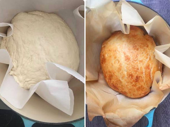 No knead bread before and after baking.