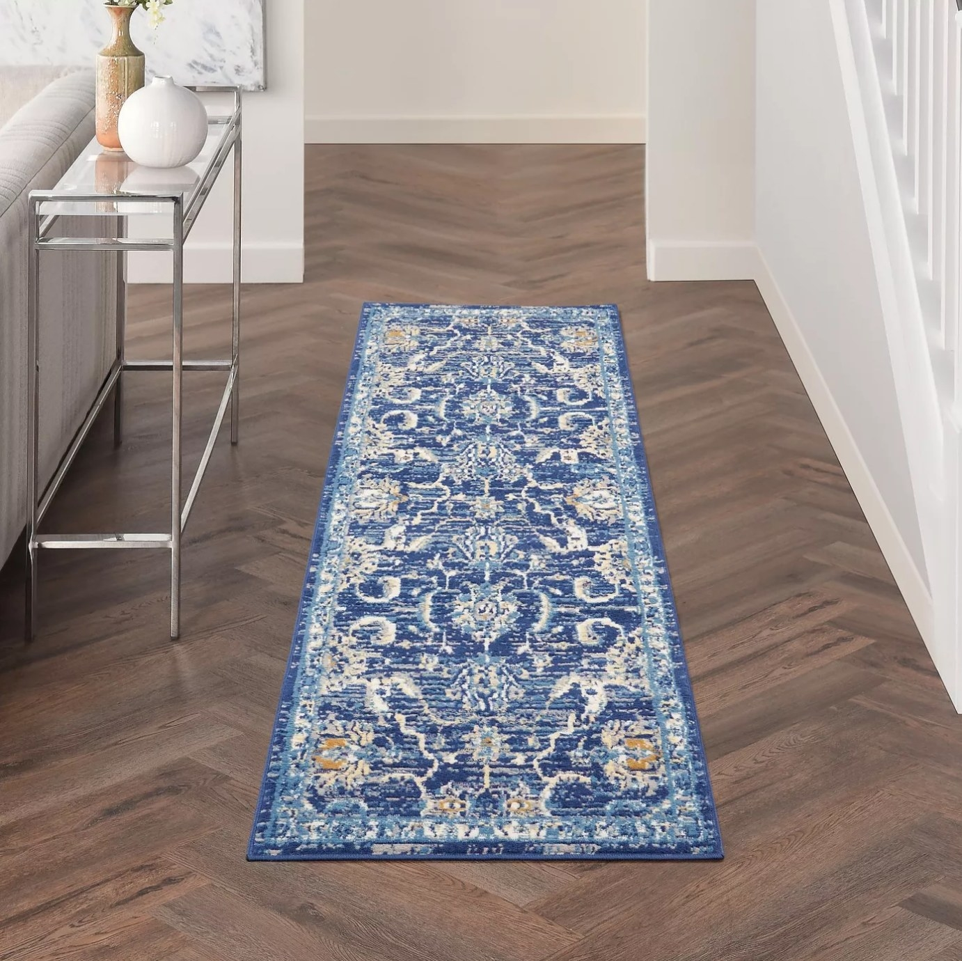 The area rug in blue