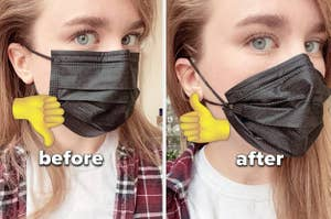 face mask without knots and with knots