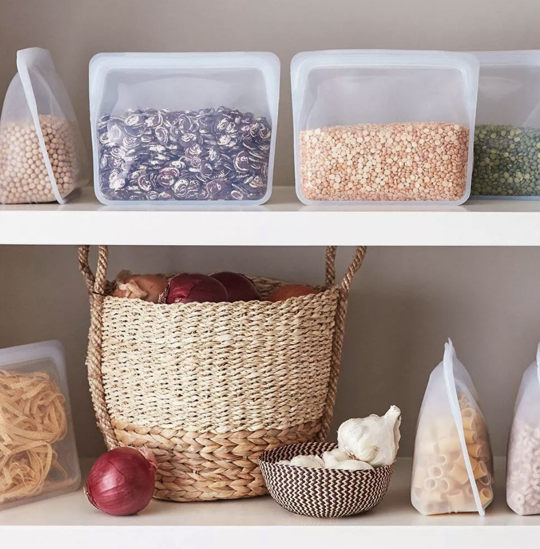 the storage bags in a pantry with different foods in them