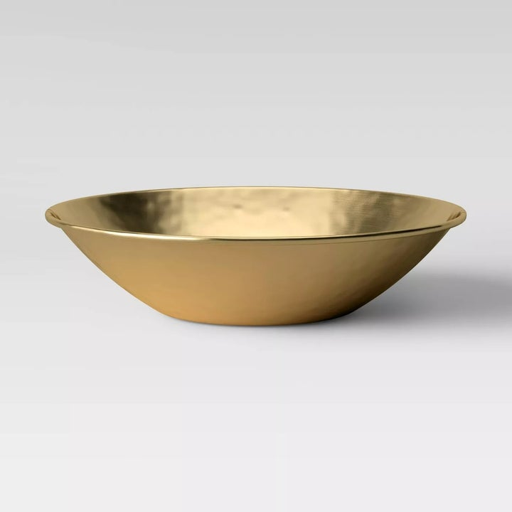 The bowl set against a gray background