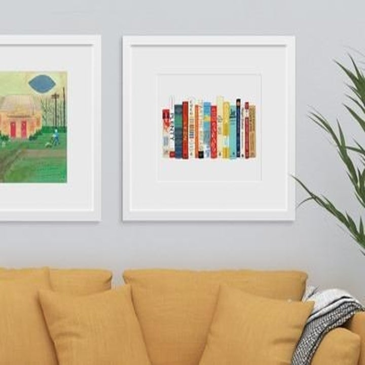 white print with illustration of different cookbooks on it
