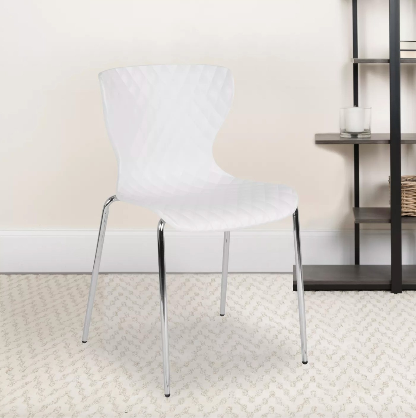 The plastic stacking chair in white