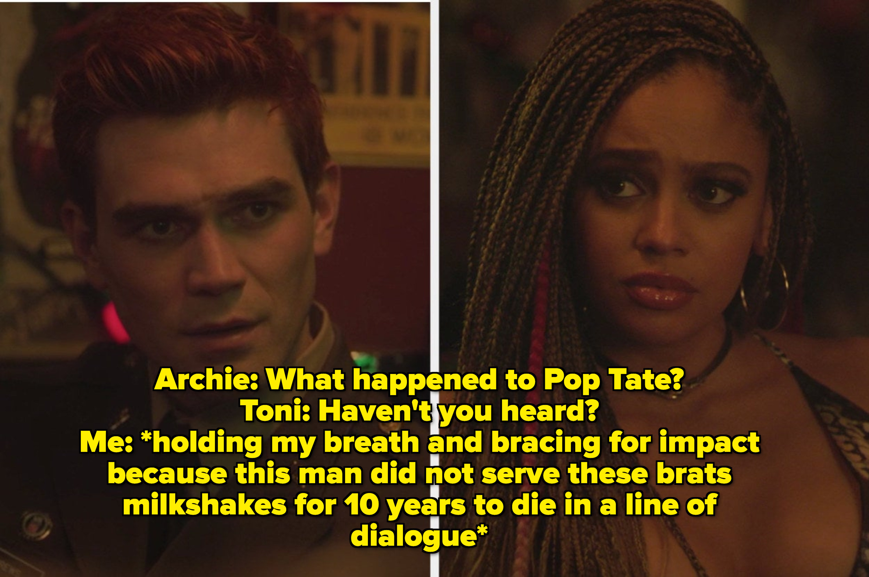 Archie and Toni talking about Pop Tate
