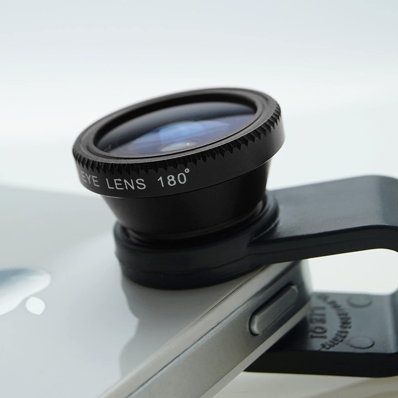 A clip-on lens on an iphone
