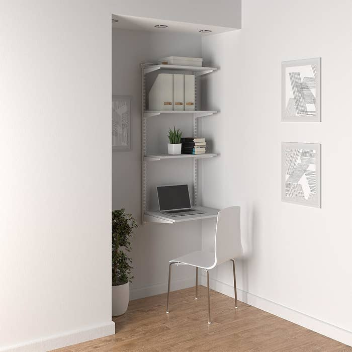 the white shelving office nook