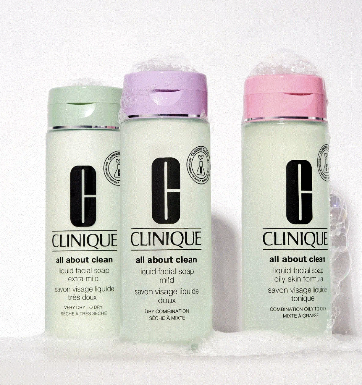 three versions of the cleanser in very dry to dry, dry combination, and combination oily to oily