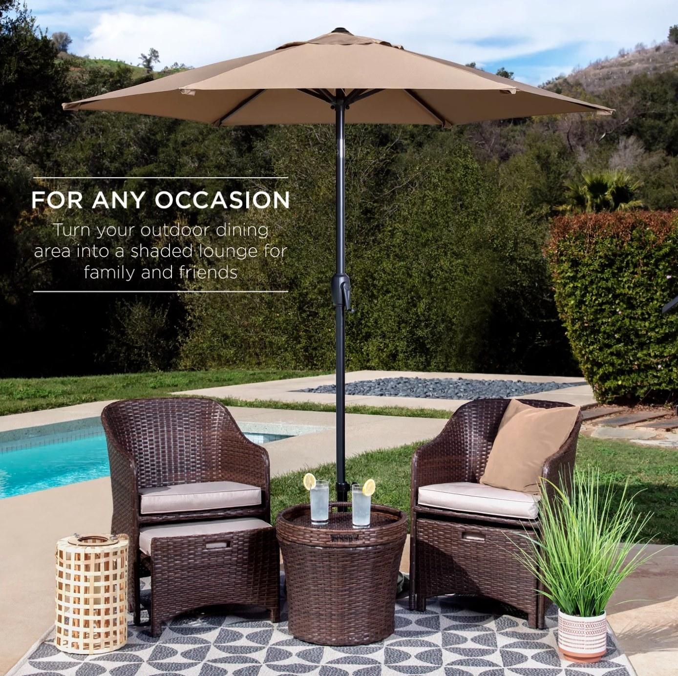 The patio umbrella in tan