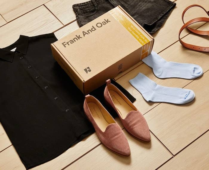 Frank and Oak Style Plan box with button down shirt, white socks, and pink pointy-toe flats