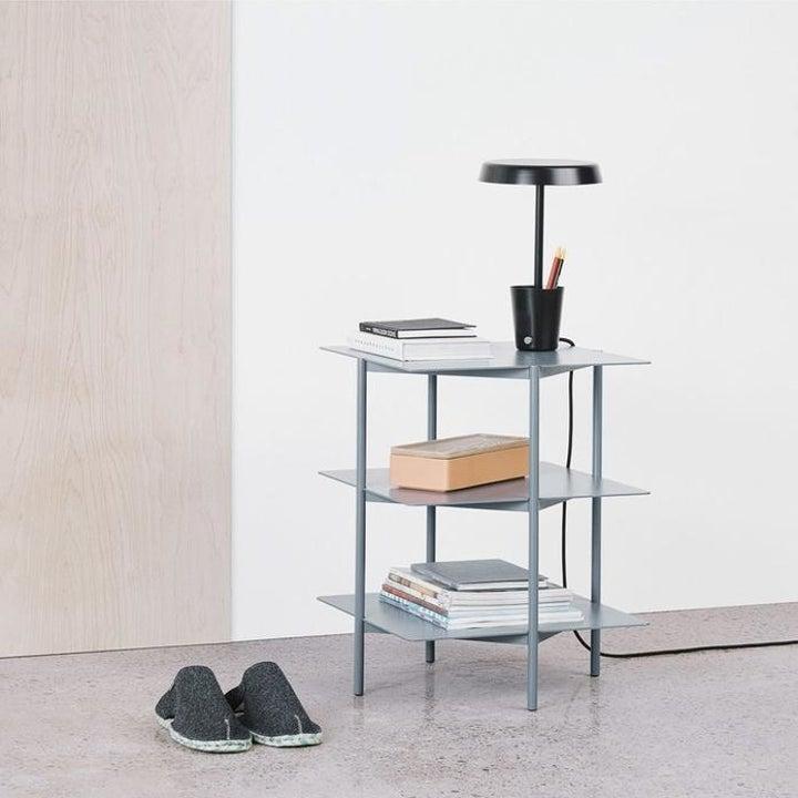three-shelf blue side table