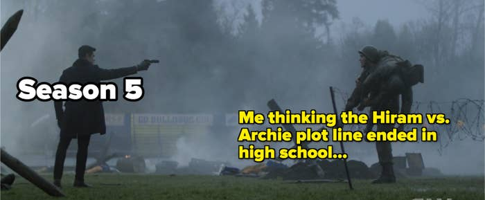 Meme about Hiram pointing a gun at Archie being like 2021