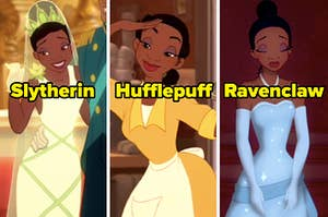 """Tiana in a wedding dress labeled """"Slytherin,"""" a work dress labeled """"Hufflepuff,"""" and a ball gown labeled """"Ravenclaw"""""""