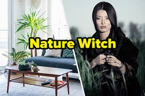 """A living room with a palm plant and a woman in dark clothes in a field with text, """"Nature Witch"""""""