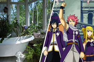 A bathroom filled with plants and a screencap from Fairy Tail