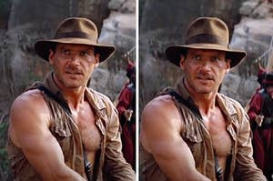 Side-by-side images of Indiana Jones with hats of different widths