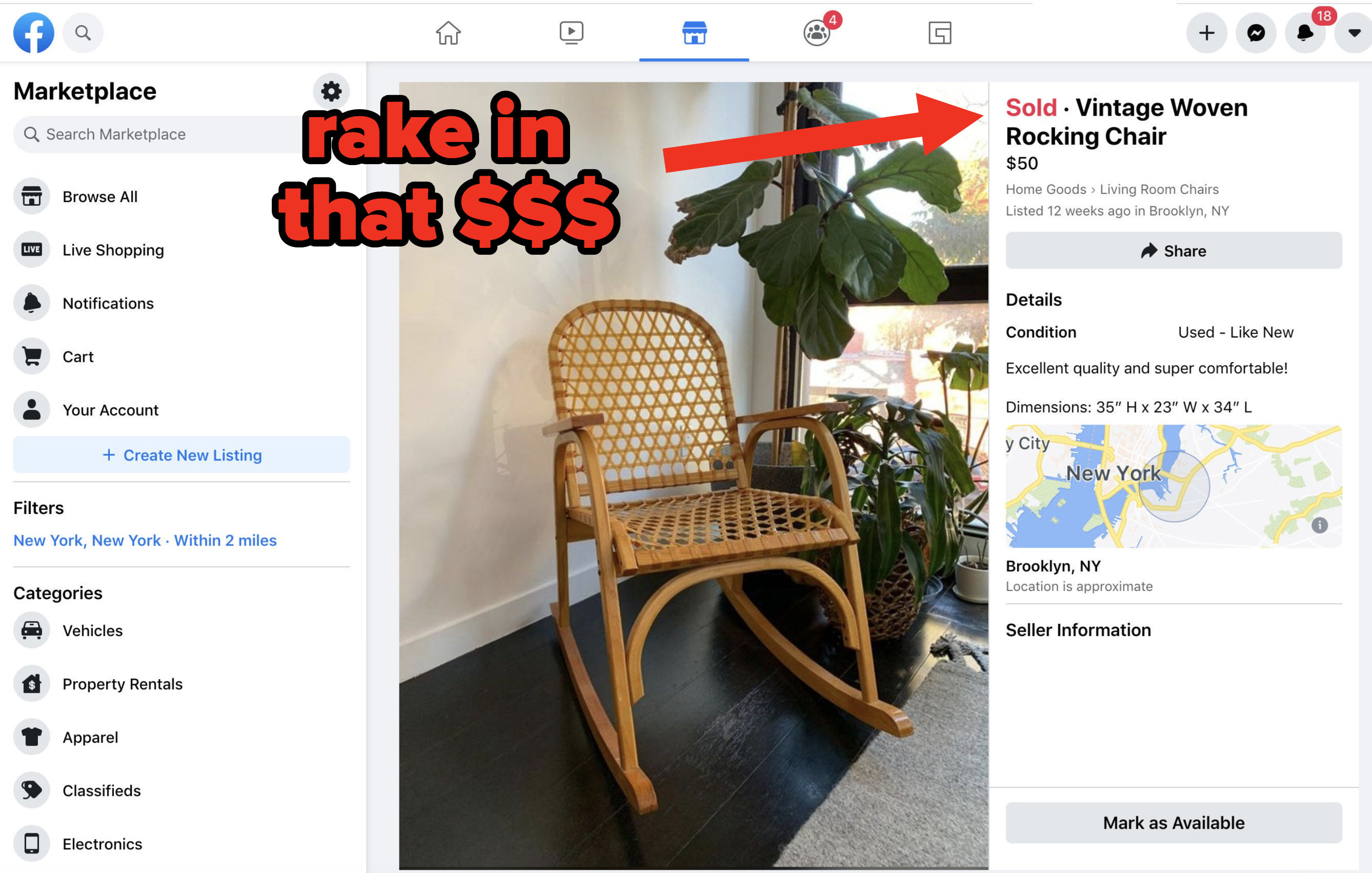 a rocking chair sold for $50 on facebook market place