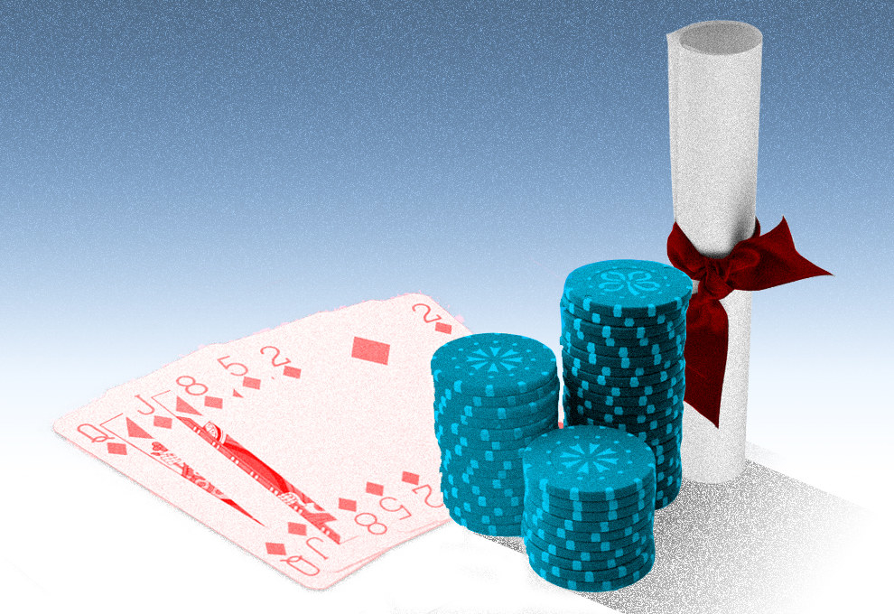 A graphic shows three stacks of poker chips, a spread-out hand of cards, and a college diploma, tied with a ribbon