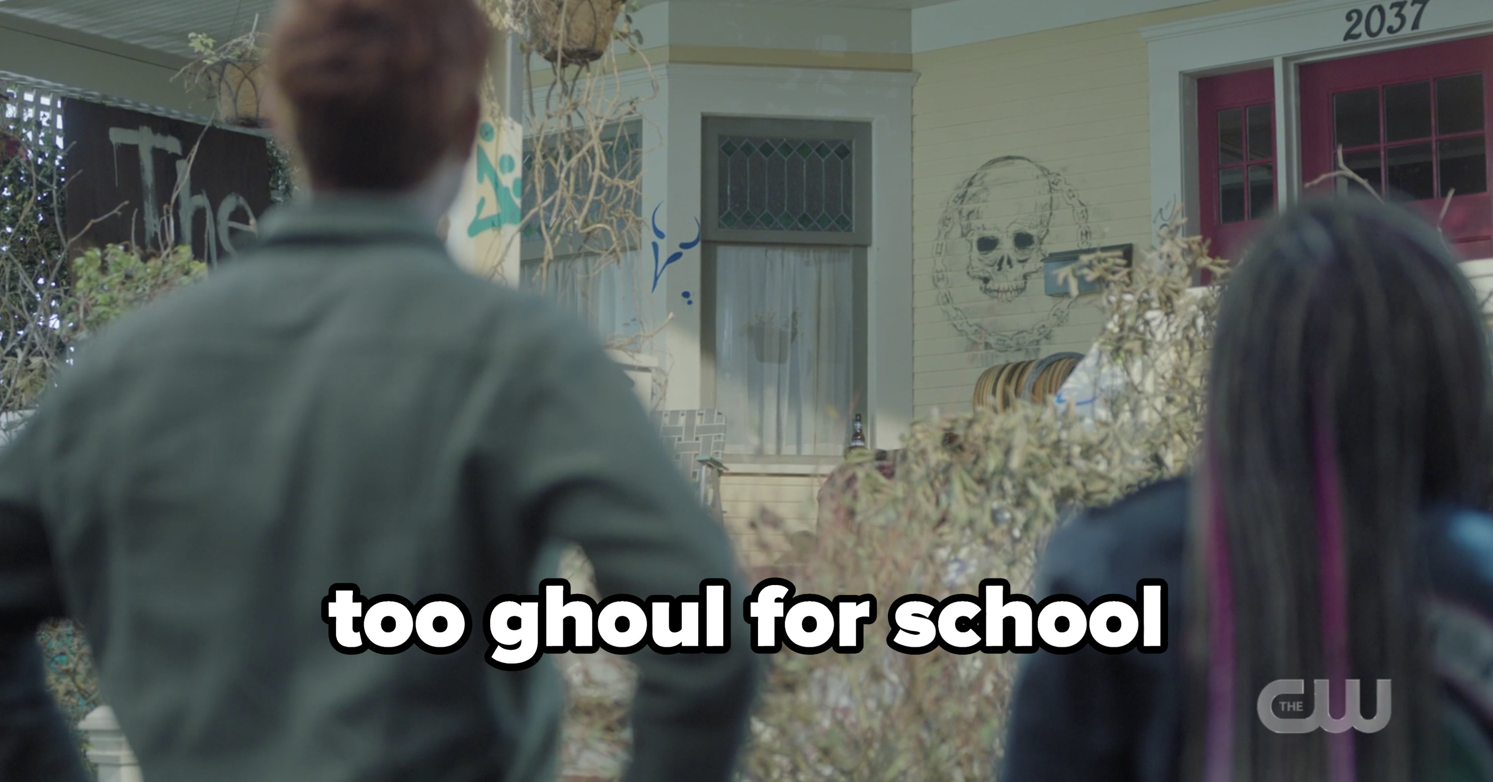Archie's destroyed house with the caption too ghoul school