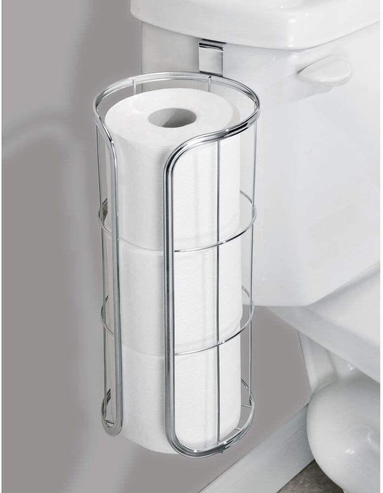 The holder hanging from the toilet bowl with three rolls inside it