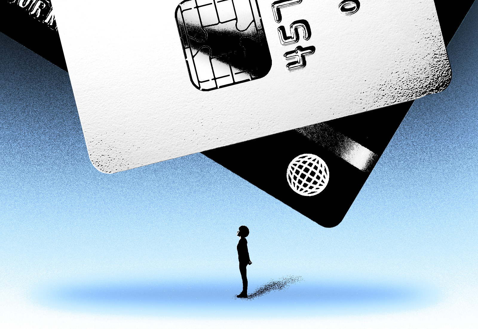 An illustration shows a person standing under massive credit cards that appear to be falling on them