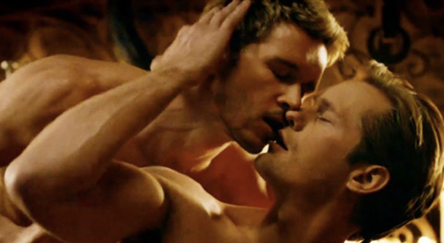 "Two men kissing in ""True Blood"""