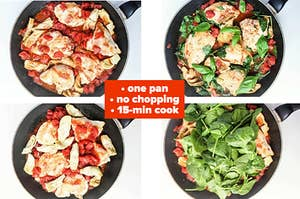 Cooking chicken, tomatoes, and spinach in a pan