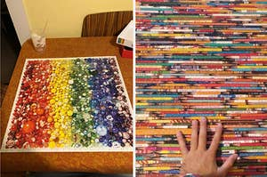 to the left: a marble rainbow puzzle, to the right: a puzzle of pencils