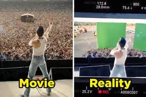 Bohemian Rhapsody movie beside the green screen set they used