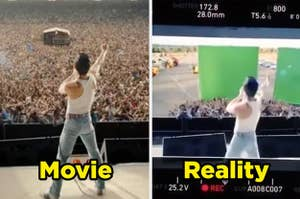Bohemian Rhapsody movie beside the green screen set they used