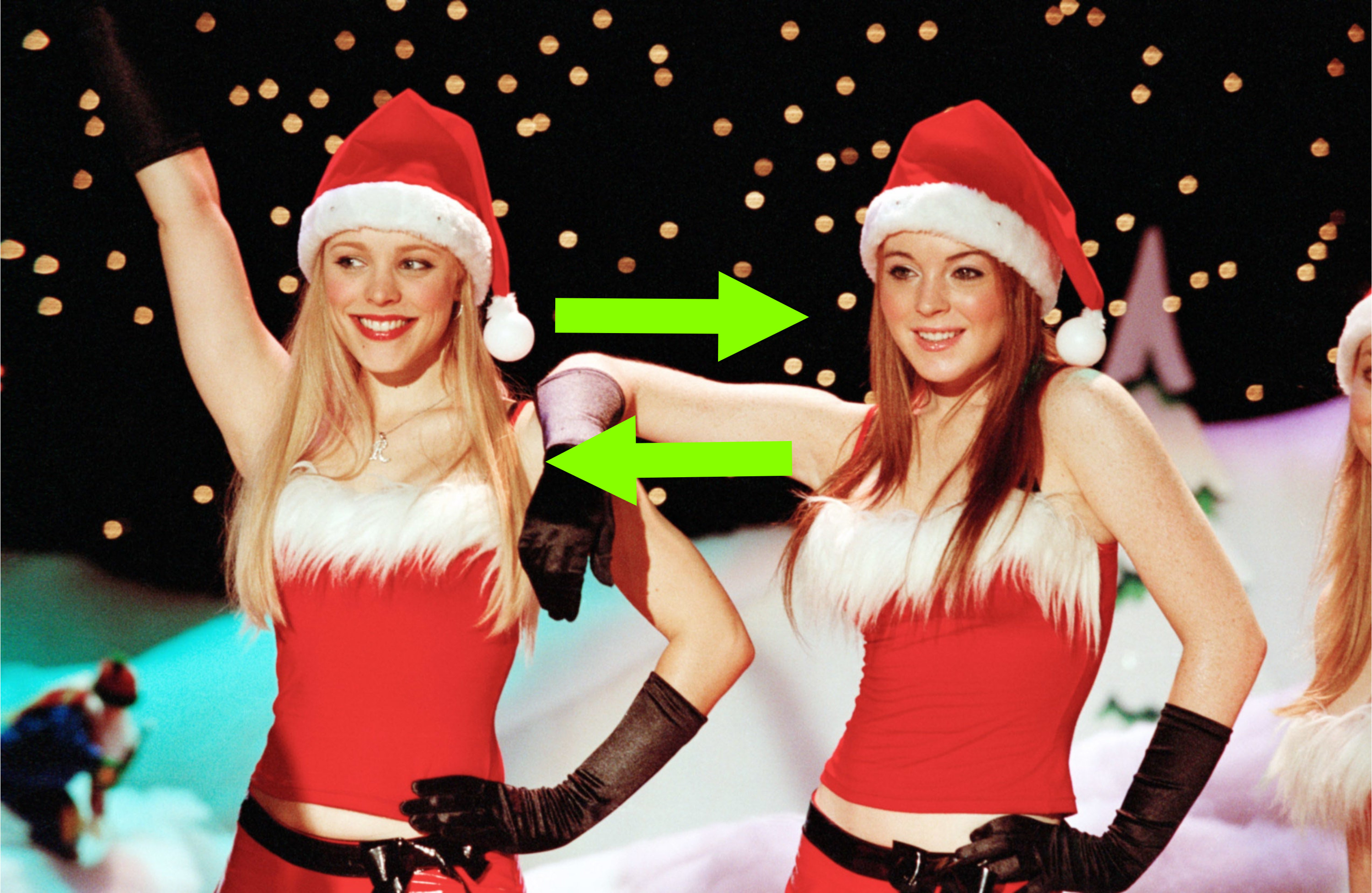 arrows pointing between Cady and Regina in Mean Girls
