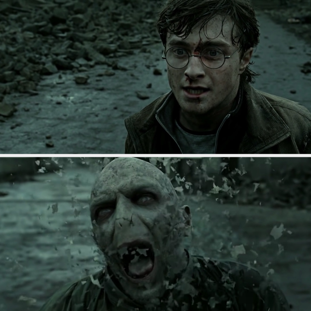 Harry watches as Voldemort flakes away