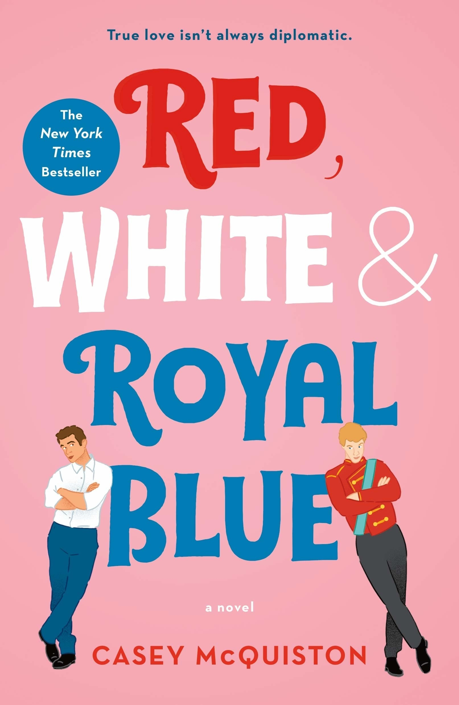 """Two men, one in royal garb, lean against the word """"Blue"""" in the title of the novel"""