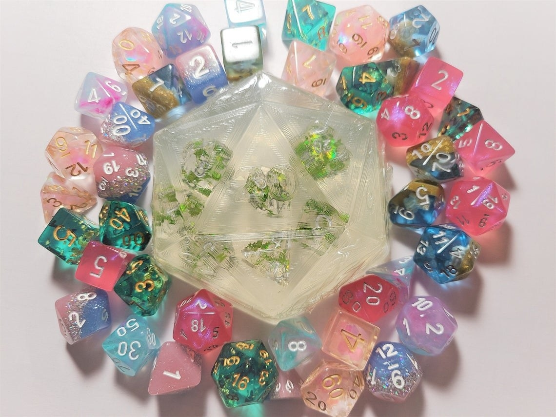clear 20 sided die soap with dice embedded inside
