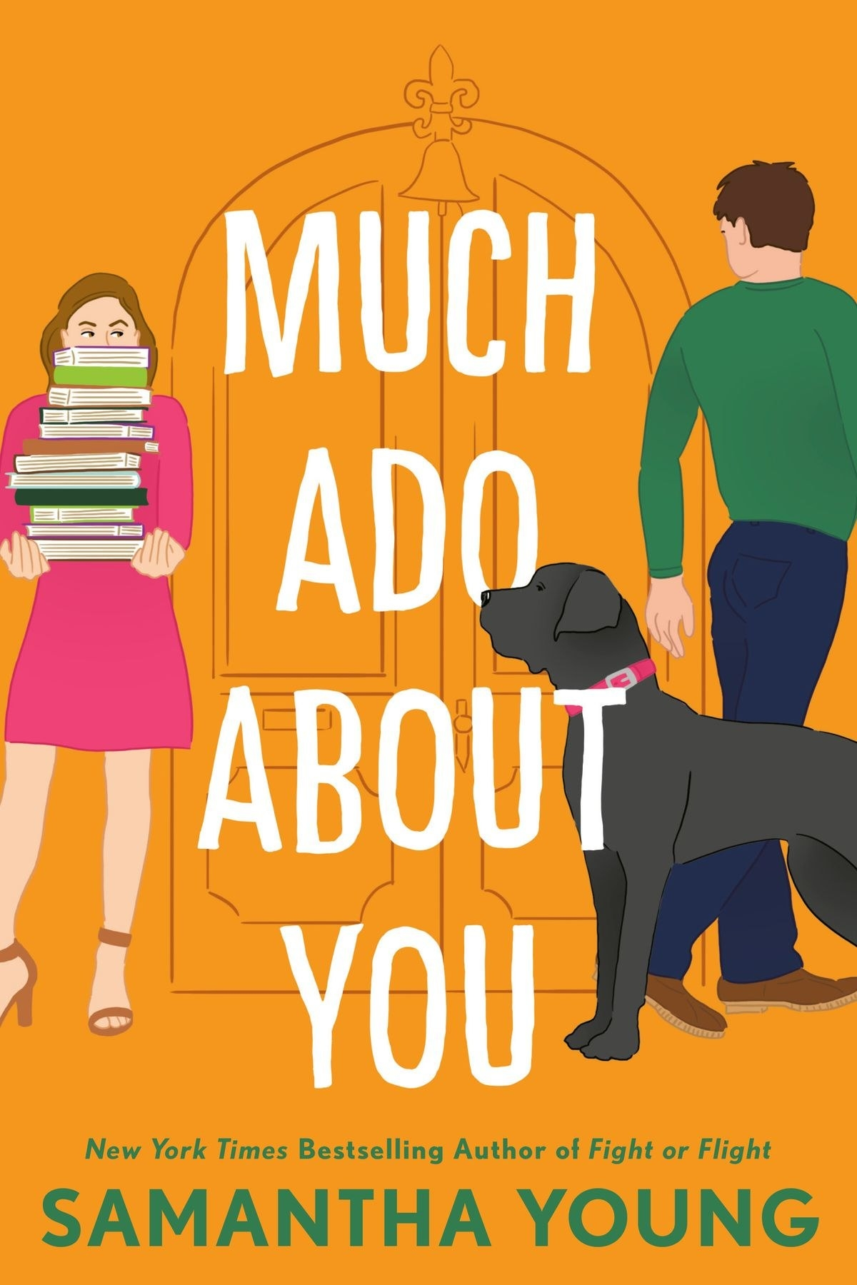 A woman holding a large stack of books looks at a man with a dog