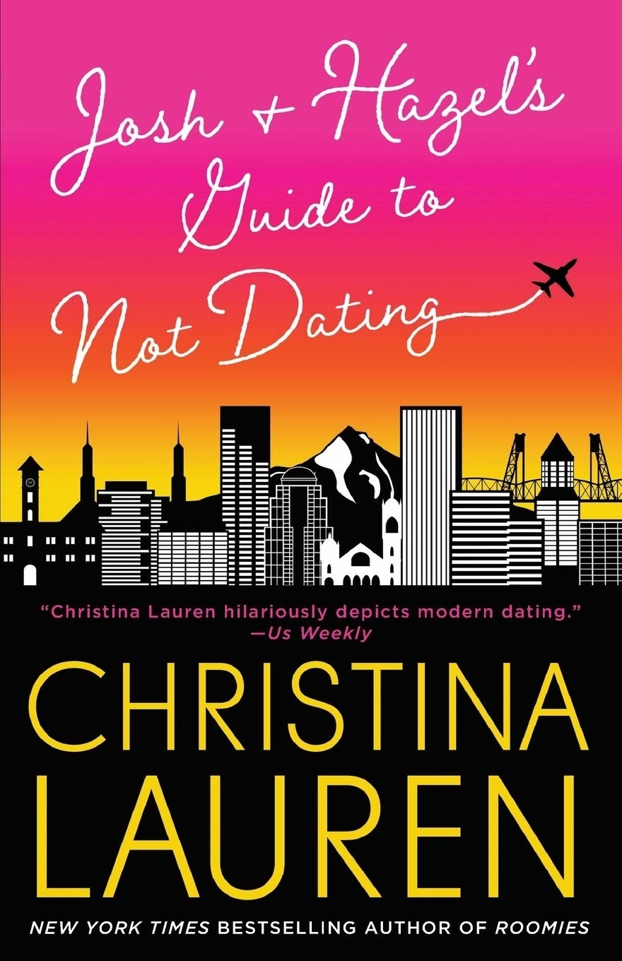 A plane flies over a skyline and spells out Josh and Hazel's Guide to Not Dating