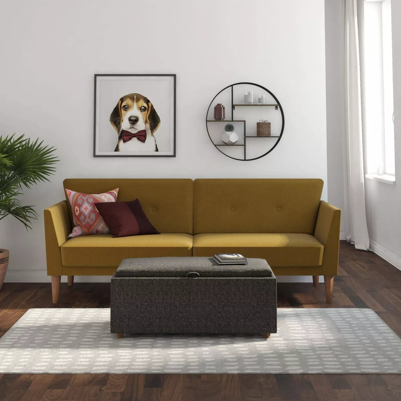 The futon placed in a living room