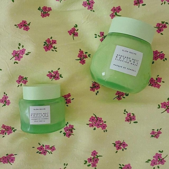 the avocado sleeping mask in a mini and full size