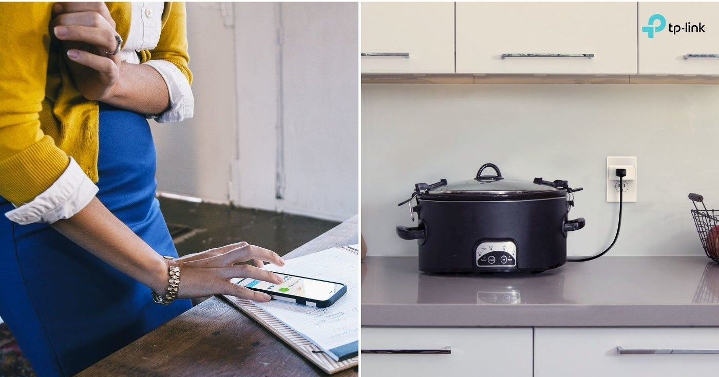 Woman controlling slow cooker from her phone because of the smart plug