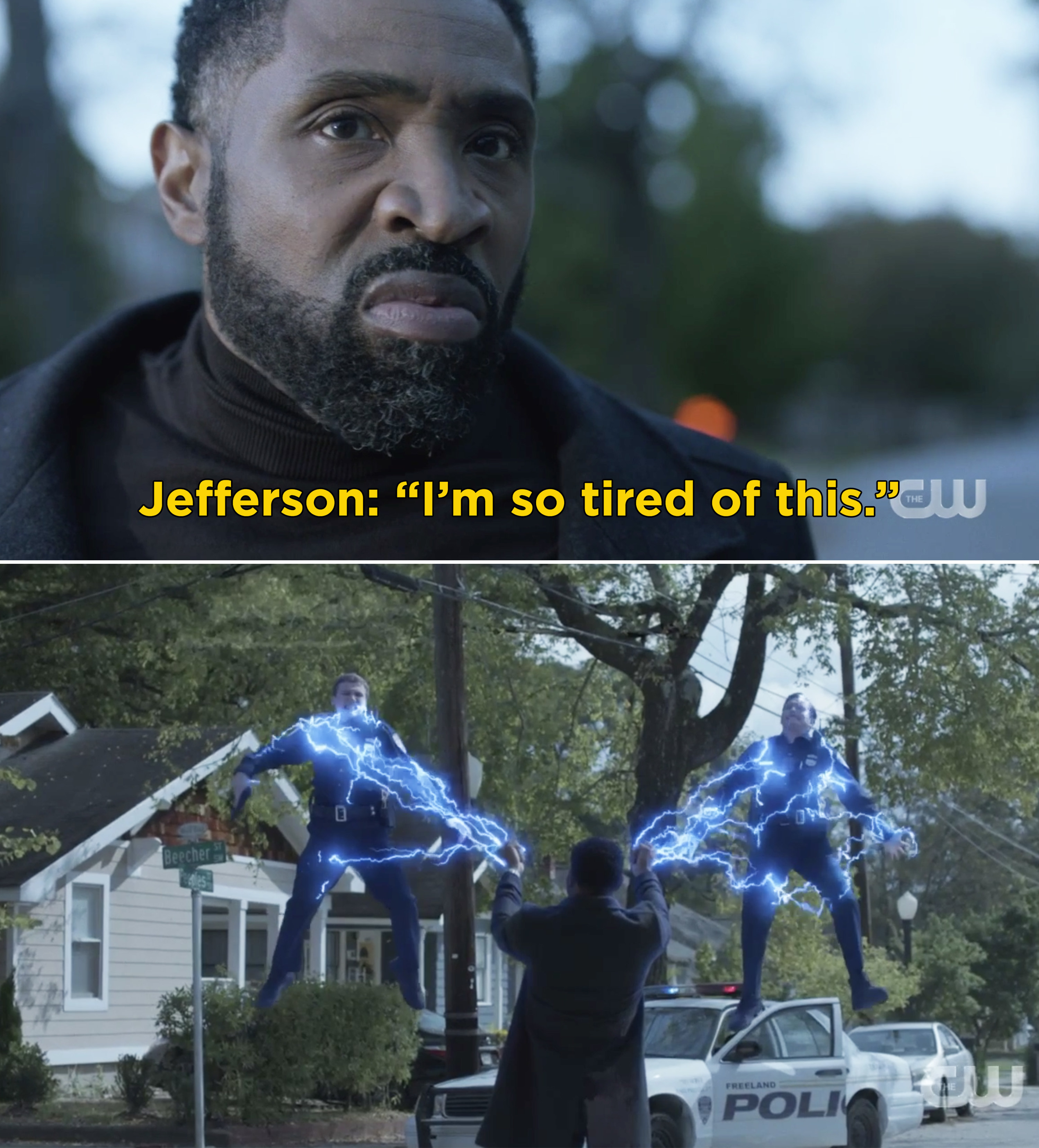 """Jefferson saying, """"I'm so tired of this"""" before holding two cops in the air with his powers"""