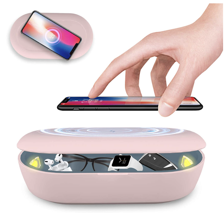 uv sanitizer box and charger in pink