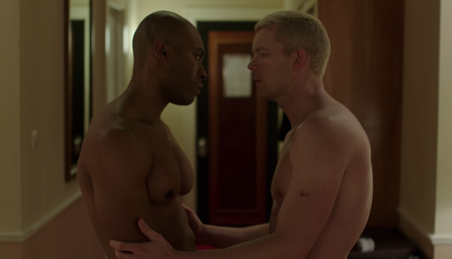 "Russell Tovey and Arinze Kene shirtless in ""The Pass"""