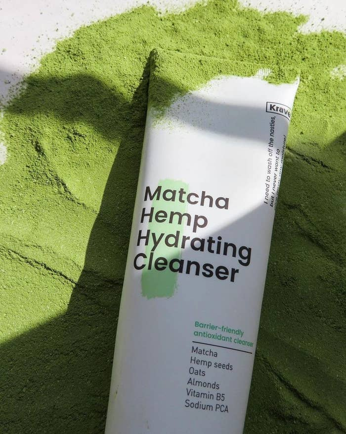 cleanser on top of matcha powder