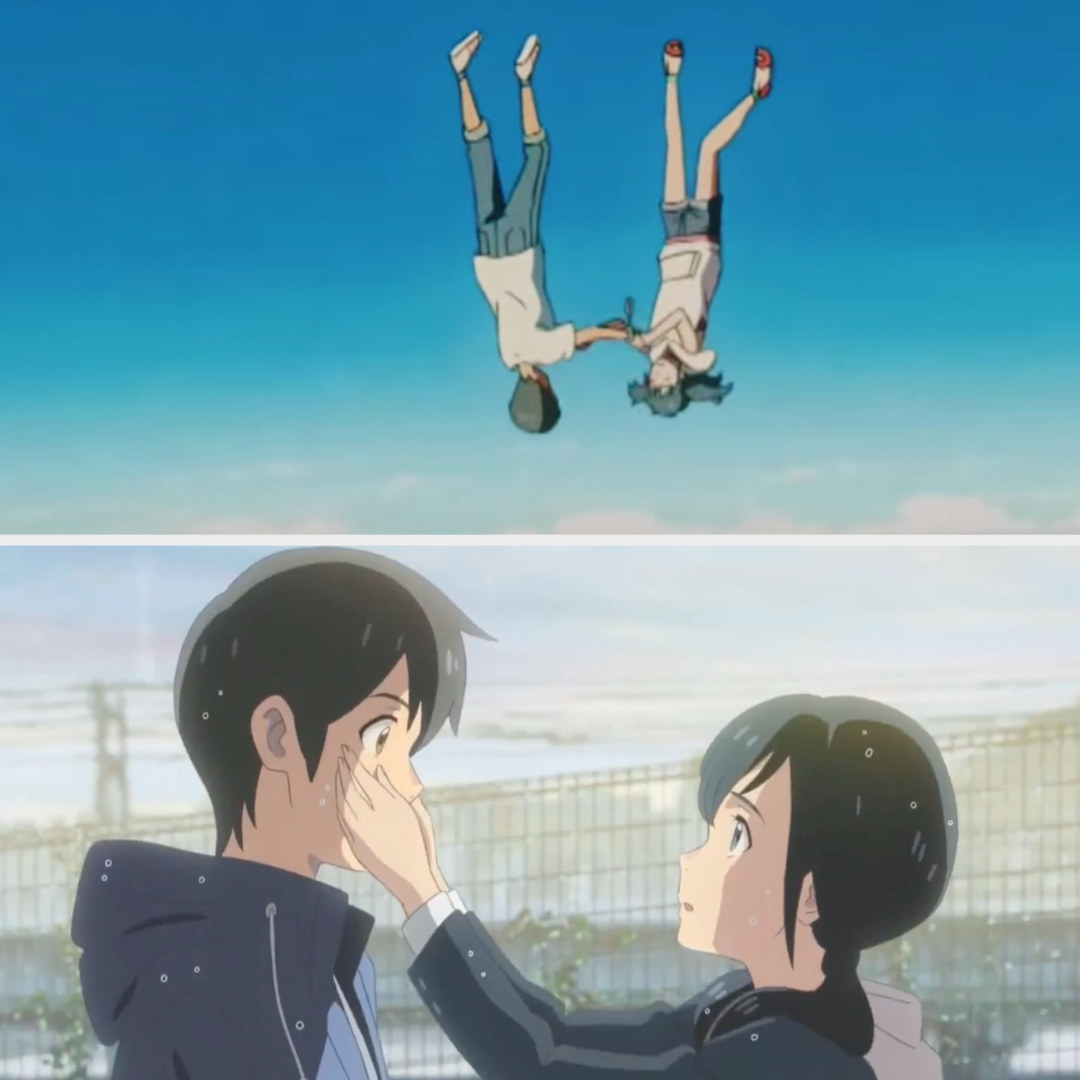 Hina and Hodaka fall from the sky and at the end they embrace while it's raining