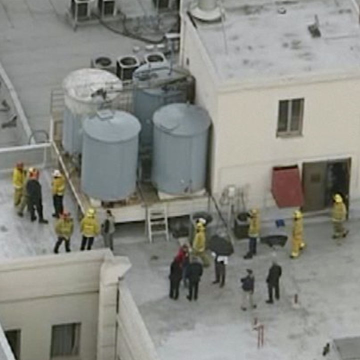 Police on the roof of the Cecil Hotel