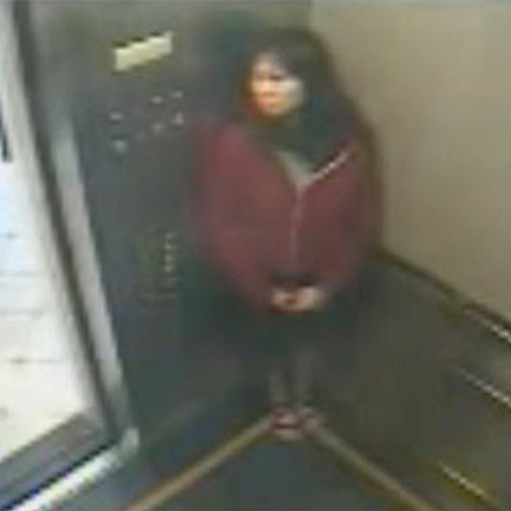 Elisa Lam in the elevator of the Cecil Hotel