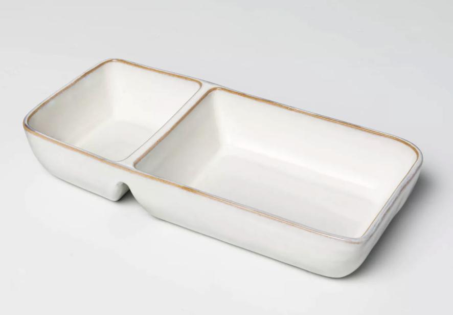 cream colored stoneware tray
