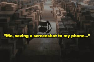 """A man pushes a box into a hanger full of similar boxes, with text reading """"Me, saving a screenshot to my phone..."""""""""""