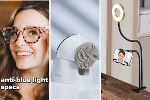 Anti-blue light glasses, an electric facial brush, and a ring light phone stand