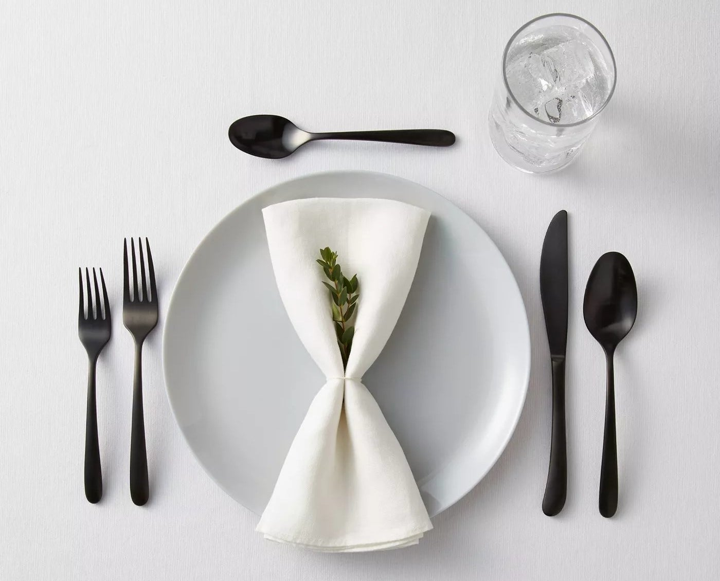 silverware and plate on table