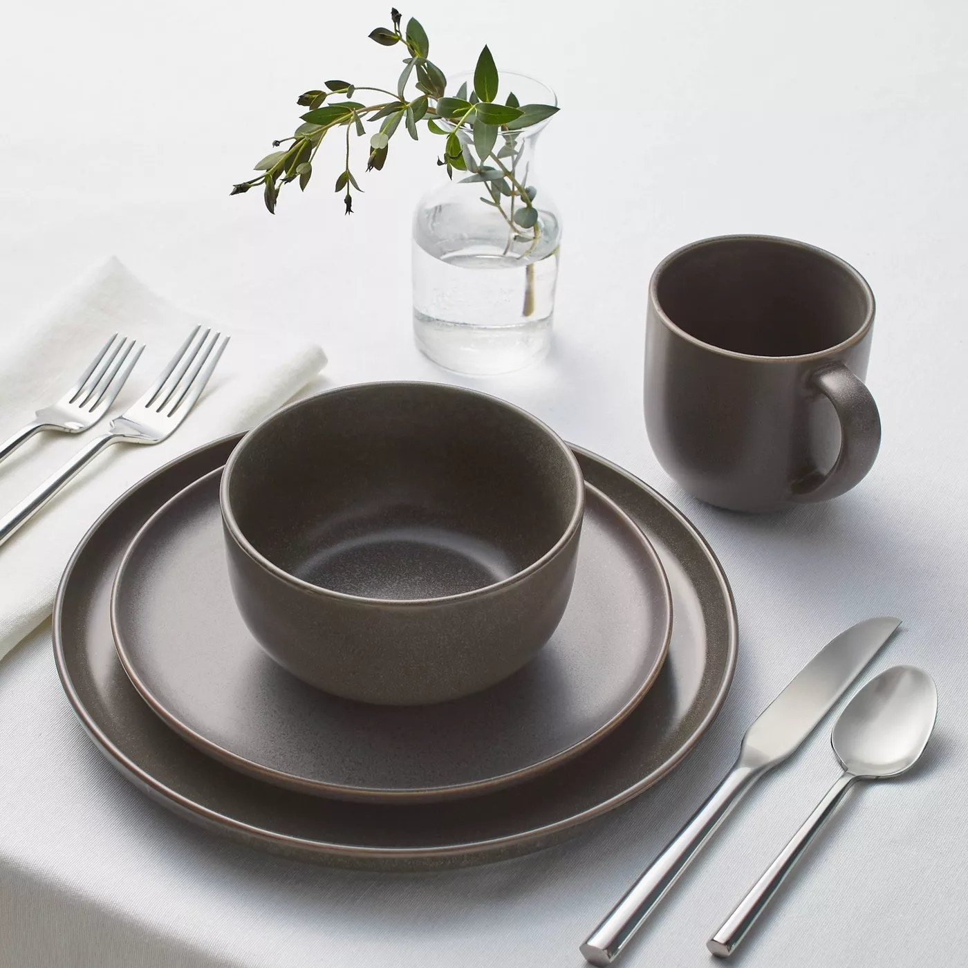 dinnerware set on kitchen table